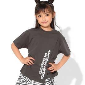 フロント切替ビッグTシャツ(アッシュブラック)