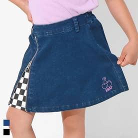 インパン付きチェリー刺繍スカート(ブルー)