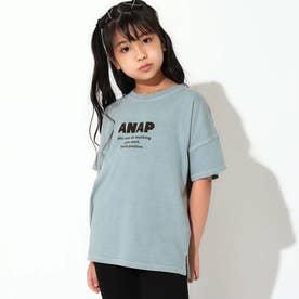 ピグメントダイ切替ビッグTシャツ(サックスブルー)