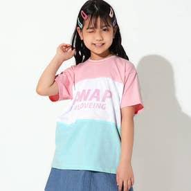 シャーベットカラーメッシュ切替ビッグTシャツ(ピンク)