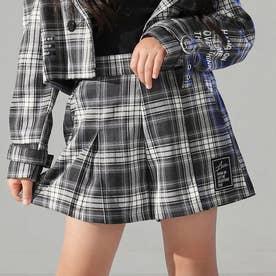 ボックスプリーツキュロットスカート(ブラック/ホワイト)