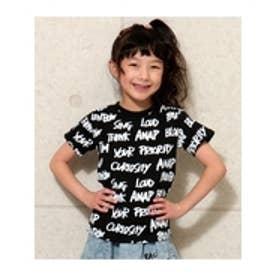 総柄プリントTシャツ ブラック