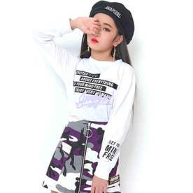 ミルキーカラープリントショートロングTシャツ(ホワイト)