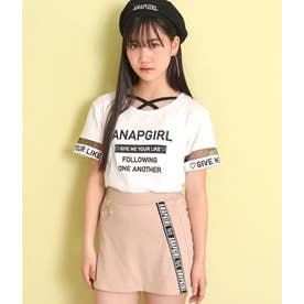 前クロス袖チュールTシャツ(ホワイト)