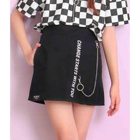 ハーフプリーツチェーン付スカート(ブラック)