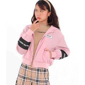 フード付袖切替ブルゾン(ピンク)