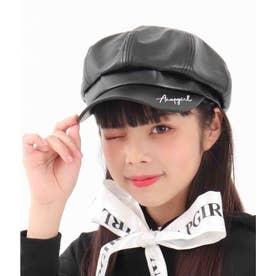 刺繍入合皮キャスケット(ブラック)