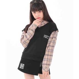 フェイクレイヤードベストシャツ(ブラック)