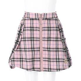 チェックサス付スカート(ピンク)