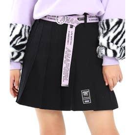 ベルト付プリーツインパンツスカート(ブラック)