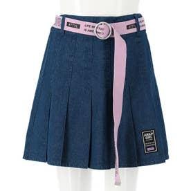 ベルト付プリーツインパンツスカート(ブルー)