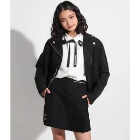 プリーツ切替インパンツ付スカート(ブラック)