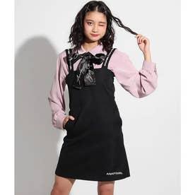 肩ロゴジャンパースカート(ブラック)