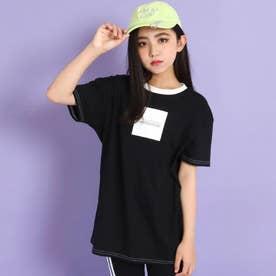 前ボックス配色ビッグTシャツ(ブラック)