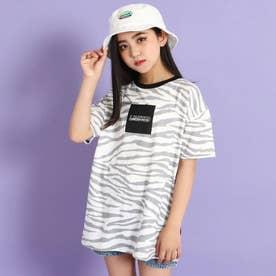 前ボックス配色ビッグTシャツ(ホワイト/ブラック)
