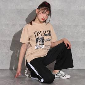 デザインTシャツ+ラインワイドパンツセットアップ(ベージュ)