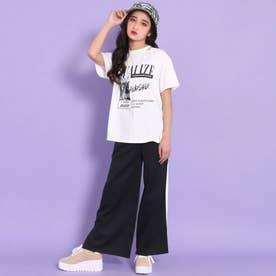 デザインTシャツ+ラインワイドパンツセットアップ(ホワイト)