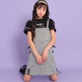 サイドレースアップジャンパースカート(ホワイト/ブラック)