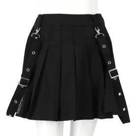 ハトメサスペンダー付きインパンツ付プリーツスカート(ブラック)