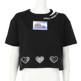 ハート裾開きホログラムワッペントップス(ブラック)