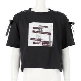 肩レースアップクロップドTシャツ(ブラック)