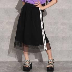 リバーシブルメッシュ付きミディ丈スカート(ブラック)