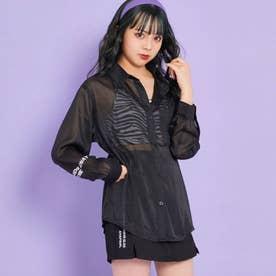 袖プリントシアーシャツ(ブラック)