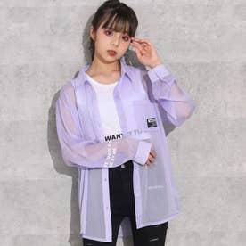 袖プリントシアーシャツ(ラベンダー)