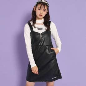 フェイクレザーリングジップジャンパースカート(ブラック)
