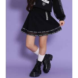 裾メッシュ切り替フレアスカート(ブラック)