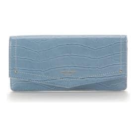 エナメルクロコ かぶせ長財布 (ライトブルー)