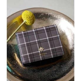 チェックビジュー新型折財布 (グレー)