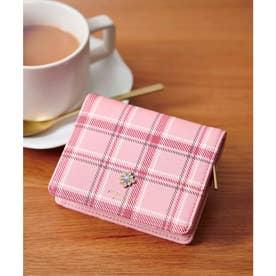 チェックビジュー新型折財布 (ピンク)