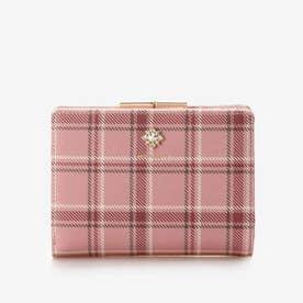 チェックビジュー口金2つ折り財布 (ピンク)