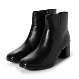 牛革 スクエアトゥ ショートブーツ (ブラック)