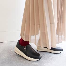 足が痛くならない靴・厚底サイドジップスニーカー (ブラック)