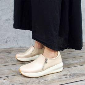 足が痛くならない靴・厚底サイドジップスニーカー (ライトピンク)