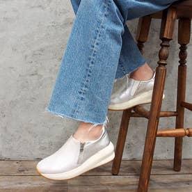 足が痛くならない靴・厚底サイドジップスニーカー (シルバー)
