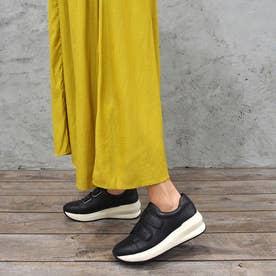 足が痛くならない靴・厚底ベルクロスニーカー (ブラック)