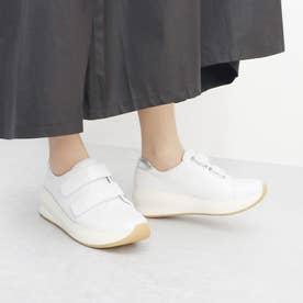 足が痛くならない靴・厚底ベルクロスニーカー (ホワイト)