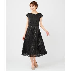 【洗える】フルールレースプリーツ ドレス (ブラック)