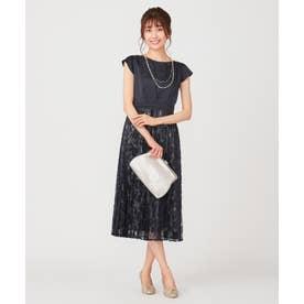 【洗える】フルールレースプリーツ ドレス (ネイビー)