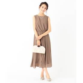 【洗える】アシメタックミディ ドレス (モカ)