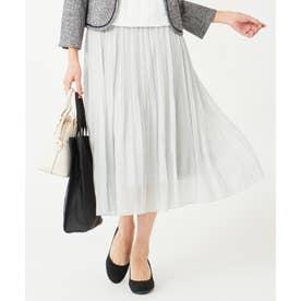 【洗える】シャイニーラメプリーツ スカート (ブルーグレー)