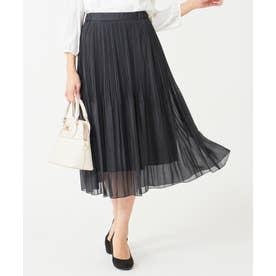 【洗える】シャイニーラメプリーツ スカート (ネイビー)