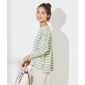 【L'aube】 バスクシャツ カットソー (ライトカーキ×オフ)