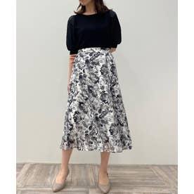 【美人百花コラボ】サテンスリーブ×フラワージャガードスカート セット (MONOTONE)