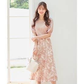 【美人百花コラボ】サテンスリーブ×フラワージャガードスカート セット (ROSE PINK)