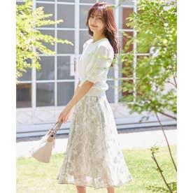 【美人百花コラボ】サテンスリーブ×フラワージャガードスカート セット (WHITE×SMOKY MINT)