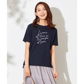 メッセージプリント Tシャツ (ネイビー系)
